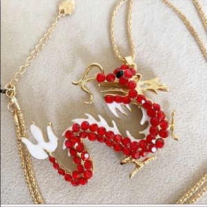 Betsey Johnson Crystals dragon statement necklace